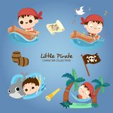 Little Pirate Characters Collection vector illustration