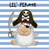 Little Pirate. Cute cartoon Sheep in a pirate hat Royalty Free Stock Photo