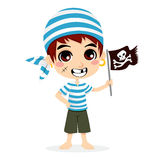 Little Pirate Kid. Little kid in pirate sailor costume smiling holding skull and crossbones flag Stock Photos