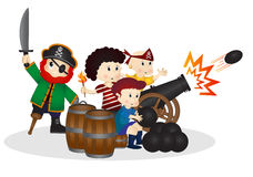 Little Pirates with cannonball Stock Photos