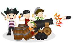 Little Pirates with cannonball Stock Photography
