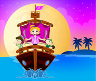 Little pirates sail with the ship Royalty Free Stock Photography