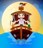 Little Pirates Sailing With Their Ship Stock Images