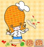 Little_pizza. Illustration of little cute girl who cooking pizza Stock Photo