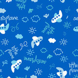 Little plane repeat pattern on a blue background Stock Photos