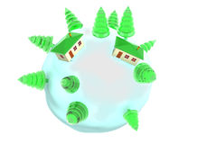 Little planet. With pine-threes and 2 homes Royalty Free Stock Photos