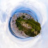 Little planet aerial view of Alesund, Norway in the morning royalty free stock images