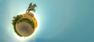 Little planet with bronze hourseman. Russia, St. Petersburg. 360. Sunrise at spring Stock Image