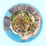 Little planet 360 degree sphere. Panorama of Fontvieille. Principality of Monaco stock illustration