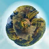 Little planet 360 degree sphere. Panorama of Lourmarin park. Provence-Alpes-Cote d`Azur. France Stock Photos