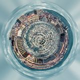 Little planet 360 degree sphere. Panorama of Old port of Marseille. France Stock Photos