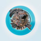 Little planet 360 degree sphere. Panorama of Peniscola town. Costa del Azahar, Province of Castellon, Valencian Community, Spain Stock Photo