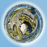 Little planet 360 degree sphere. Panorama of Riga city royalty free illustration