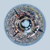 Panorama of Riga city, Latvia. Little planet 360 degree sphere. Panorama of Riga city, Latvia Royalty Free Stock Photography