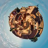 Little planet 360 degree sphere. Panorama of Roussillon village. One of the most impressive villages in France Stock Photo