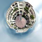 Little planet 360 degree sphere. Panoramic view of empty Plaza de Espana square in Nerja. Malaga, Spain Stock Photo