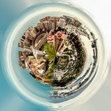 Little planet 360 degree sphere. Panoramic view of Malaga bullring La Malagueta and seaport. Spain Stock Images