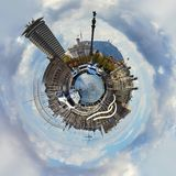 Little planet 360 degree sphere. Panoramic view of Rambla de Mar in Barcelona city. Spain Royalty Free Stock Photo