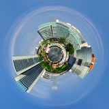 Little planet 360 degree sphere. Panoramic view to the Donau City in summertime. Vienna. Austria Royalty Free Stock Image
