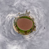 Little Planet with Doves flying over Svyato-Duhov (Saint Spirit) Cathedral in Minsk, Belarus Stock Image