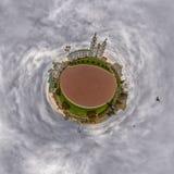 Little Planet with Doves flying over Svyato-Duhov (Saint Spirit) Cathedral in Minsk, Belarus Stock Image