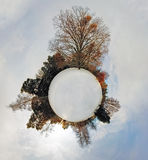 Little planet - Globe at winter time - 360 degrees panorama Stock Photo