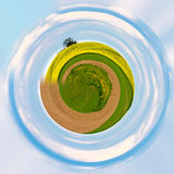 Little planet with green grass ecology concept Royalty Free Stock Photo