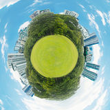 Little planet with green grass ecology concept Stock Photo