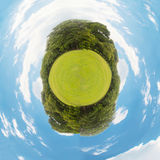 Little planet with green grass Stock Photos