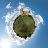Little planet with old ruin Stock Images