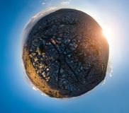 Little planet panorama of the city of La Paz stock photography