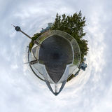 Little planet panorama of Dusseldorf Stock Photography