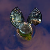 Little planet panorama of Dusseldorf Stock Photos