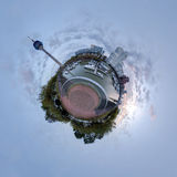 Little planet panorama of Dusseldorf Stock Image