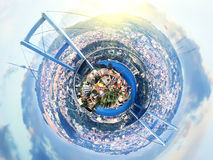 Little planet panorama of Istanbul, Turkey with Bridge over Bosphorus at fantasy sunset Stock Photos