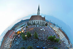 Little planet panorama projection of a crowded square Stock Photography