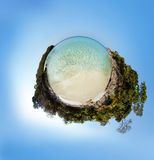 Little planet panorama on white sandy beach Stock Photography