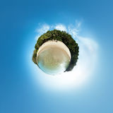 Little planet panorama on white sandy beach Stock Photo