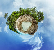Little planet panorama on white sandy beach Royalty Free Stock Photography