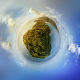 Little planet panorama on white sandy beach Stock Photos