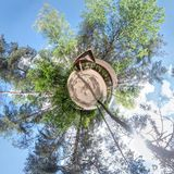 Little planet. Spherical aerial view in forest near vacation home in nice day with nice clouds royalty free stock images