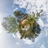 Little planet spherical panorama 360 degrees. Spherical aerial view in forest in nice day. Curvature of space stock photos