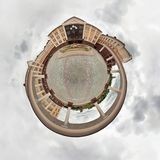 Little planet. Spherical view of a building with columns royalty free stock image