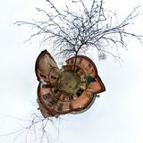 Little planet. Spherical view of old abandoned courtyard with tree шт cloudy day royalty free stock photo
