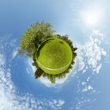 Little planet with trees and green meadow Royalty Free Stock Images