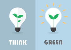 Little plant inside a light bulb, Green eco energy concept Stock Photo