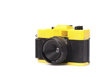 Little Plastic Camera. A kooky little plastic camera on white. loads of copyspace royalty free stock images