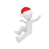 Little playful 3d man leaping in the air. Little playful 3d man in a red Santa Claus hat for Christmas leaping in the air in motion,rendered illustration on Royalty Free Stock Image