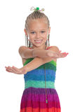 Little playful girl with crossed hands Stock Photos