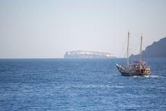 Little pleasure boat on the aegean sea Stock Images